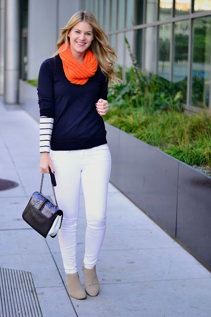 Scarf,Sweater and jeans outfit