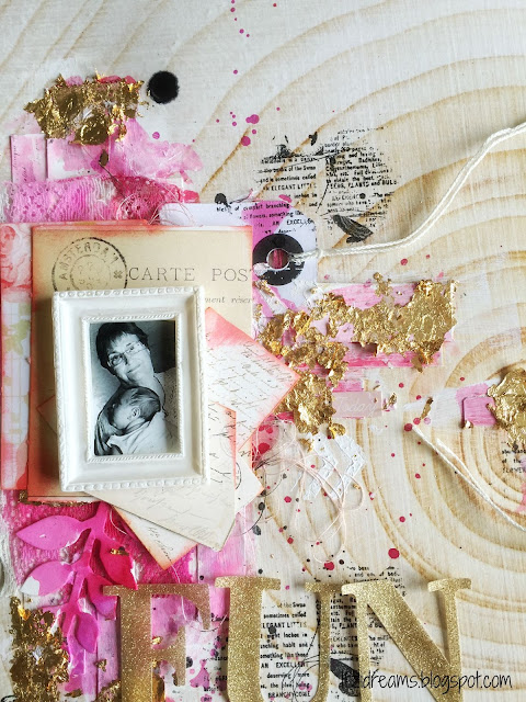 Watercolor, scrapbooking mix media, canvas, Gold leaf,