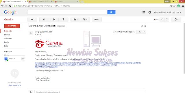 Kemudian klik Link atau Url yang panjang itu yang terdapat dalam email. Tampilan