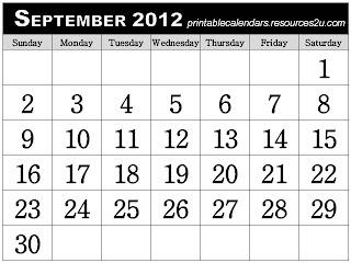 free-printable-calendar september 2012