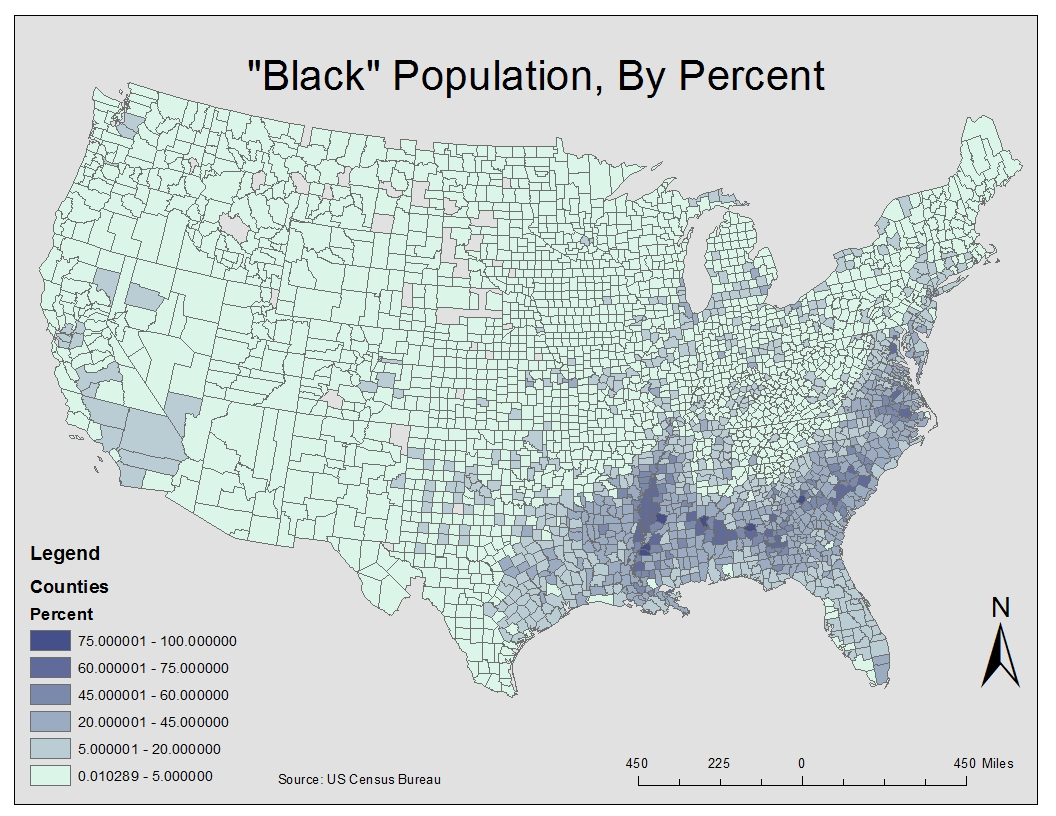 2000 us census data map black population by percent