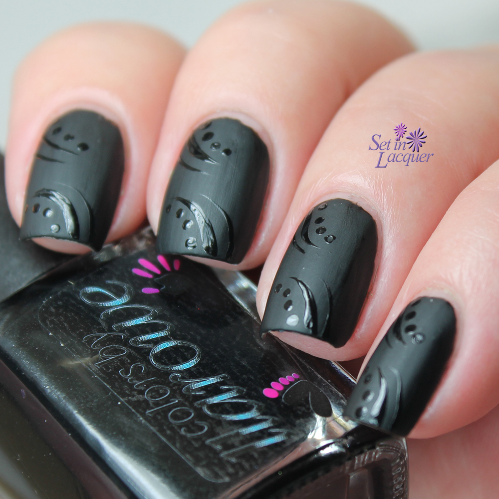 Matte with glossy accents nail art