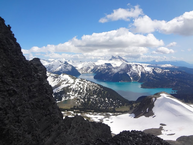 View of Garibaldi Lake from crevasse on Black Tusk