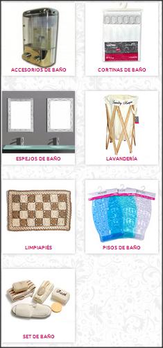 Accesorios de baño, cortinas de baño, espejos, accesorios lavandería, limpiapies, pisos de baño, set de baño.