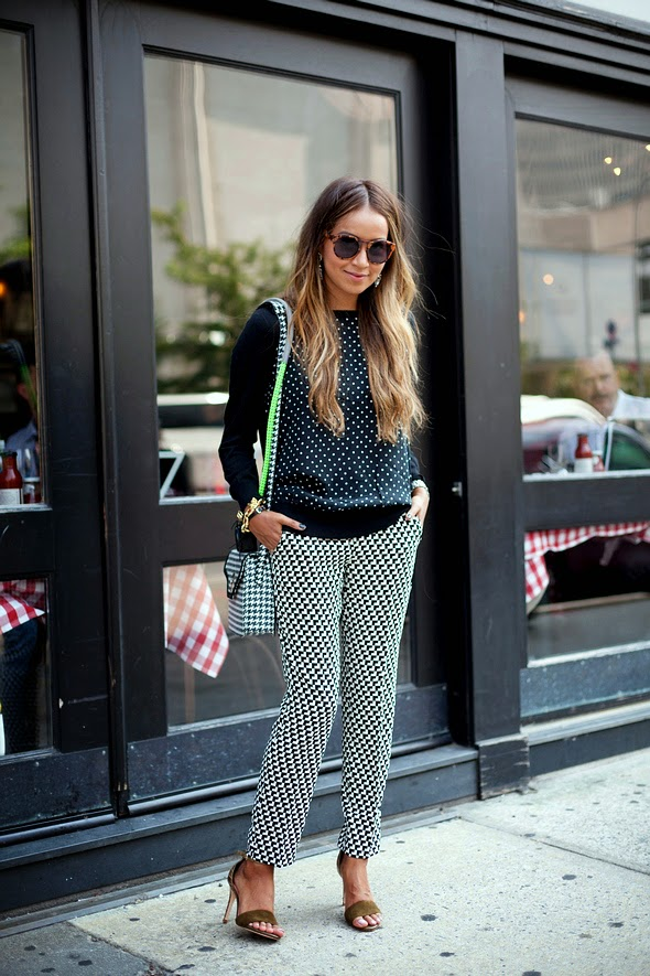 polkadot sweater black pattern pants houndstooth long hair new york street style womens street style nyc spring fashion