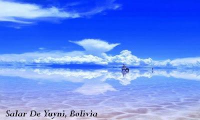 Beautiful salt lake in Salar De Yuyni