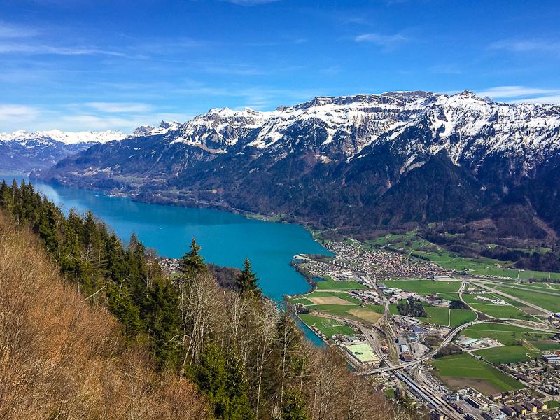 View of interlaken from the top of  Harder Klum in Switzerland