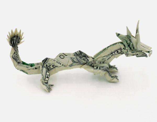 Origami Dollar bentuk naga
