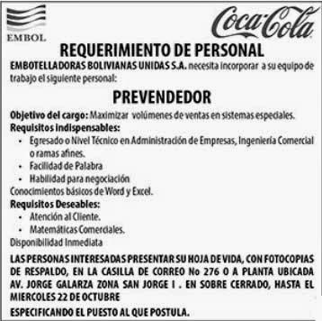 Embol Tarija requiere los servicios de un Prevendedor