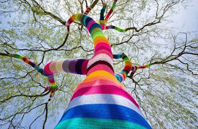 Knitted tree art.