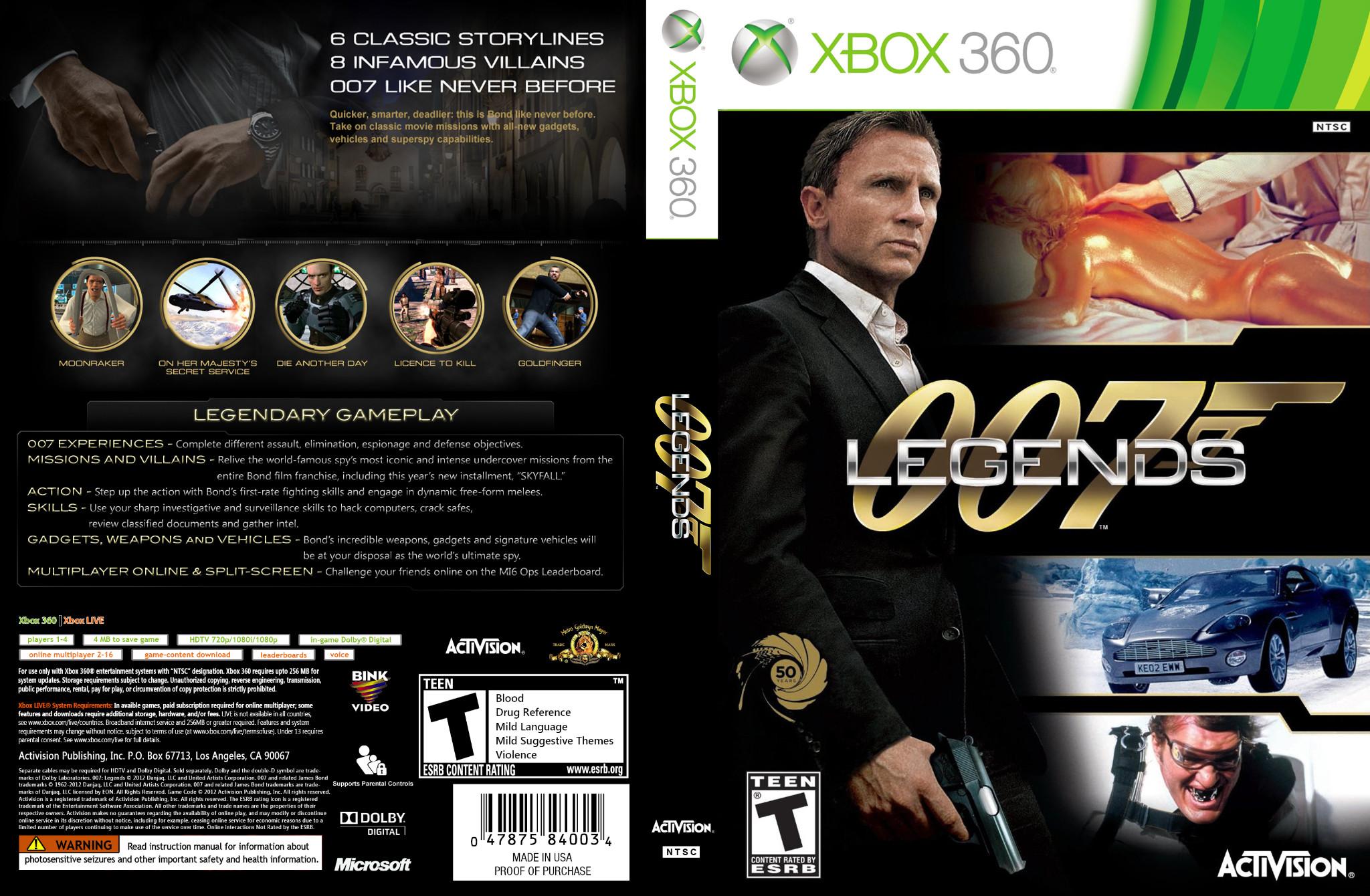 007 Legends Xbox 360 ~ Gamecover   Download de capas para jogos, ps4 ...