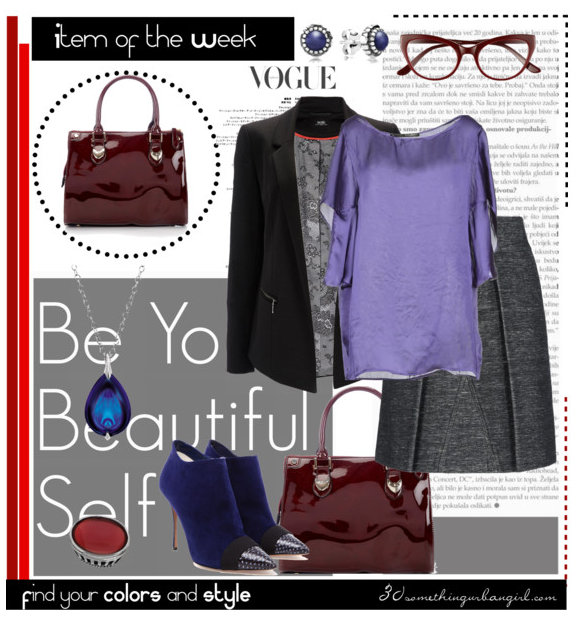 awesome work wear outfit with oxblood bag, violet top and grey skirt