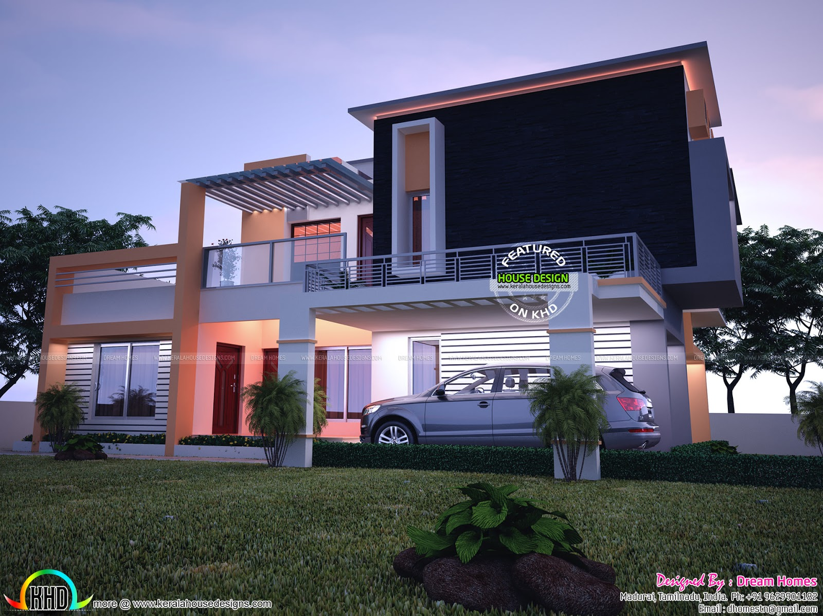 Contemporary model india house plan kerala home design for Modern house plans india