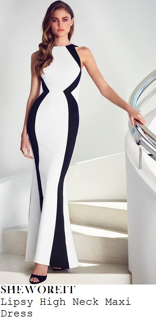 stephanie-davis-white-black-monochrome-panel-sleeveless-maxi-dress-lottery-awards