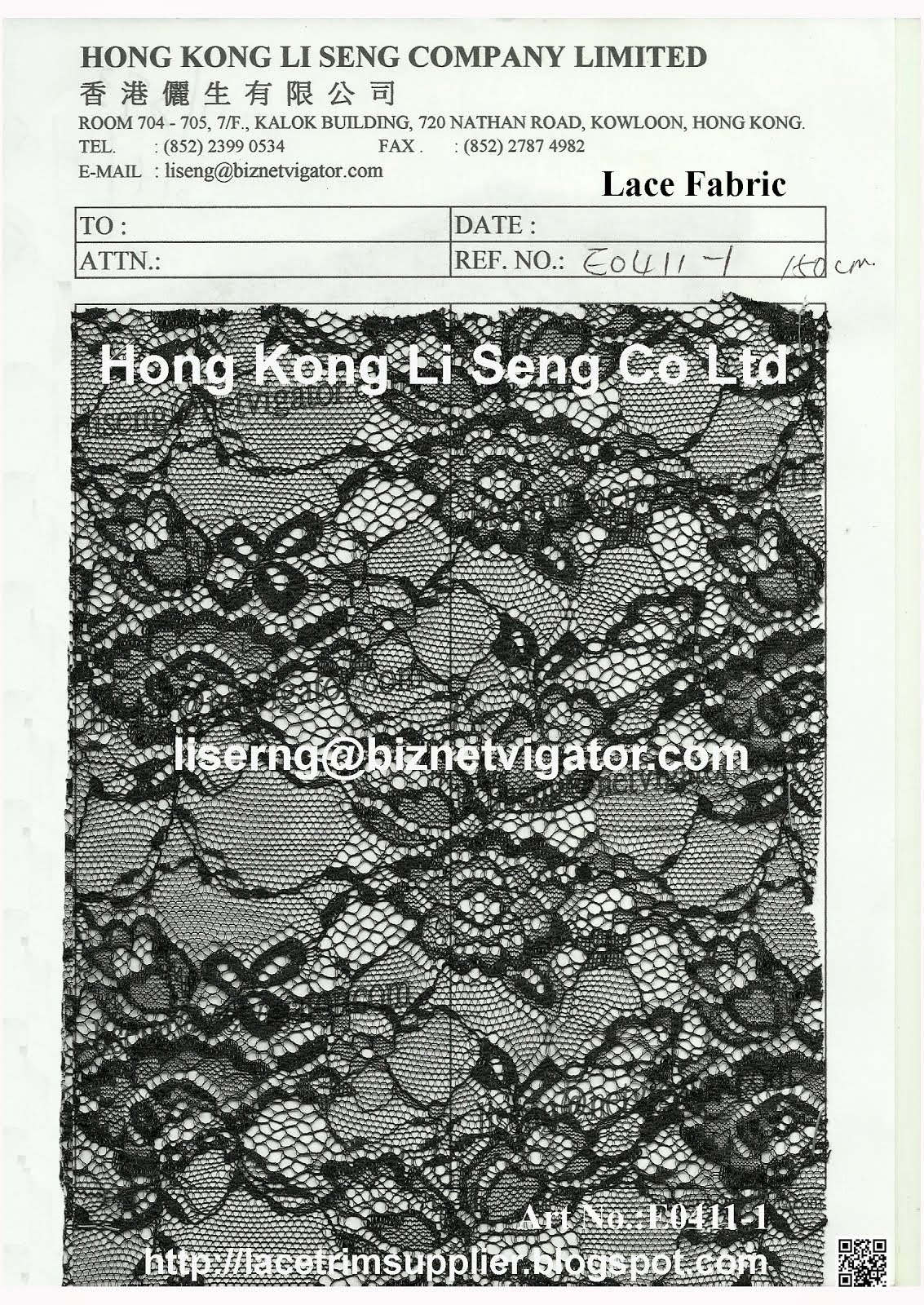 New Lace Fabric Pattern - Hong Kong Li Seng Co Ltd