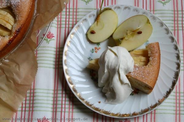 Apfel Oma's schneller Apfelkuchen Goldrand Geschirr Himbeerprinzesschen Foodblog