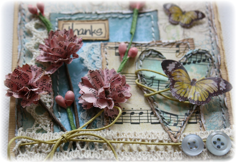 Such a pretty mess handmade flower challenge with bo bunny d a little bit of et cetera i love the music note paper the butterflies are from the country garden collection here is a close up peek of the blooms mightylinksfo