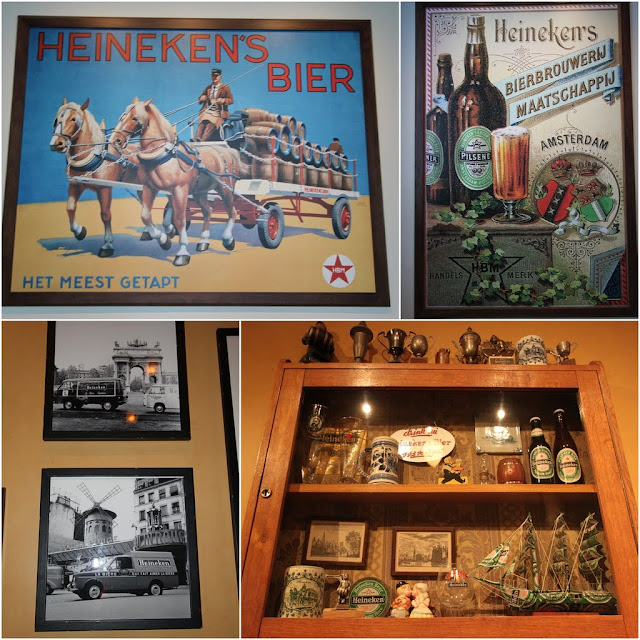 More old pictures and souvenirs of Heineken Beer at Heineken Experience Museum in Amsterdam, Netherlands