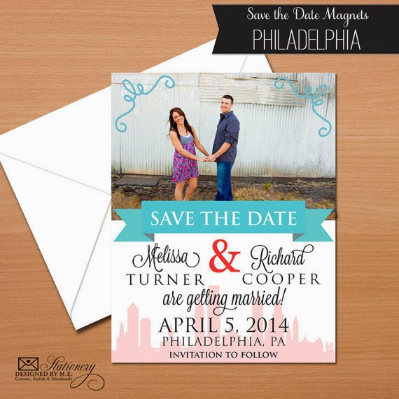 Philadelphia Wedding Save the Date Magnets by Designed By M.E. Stationery