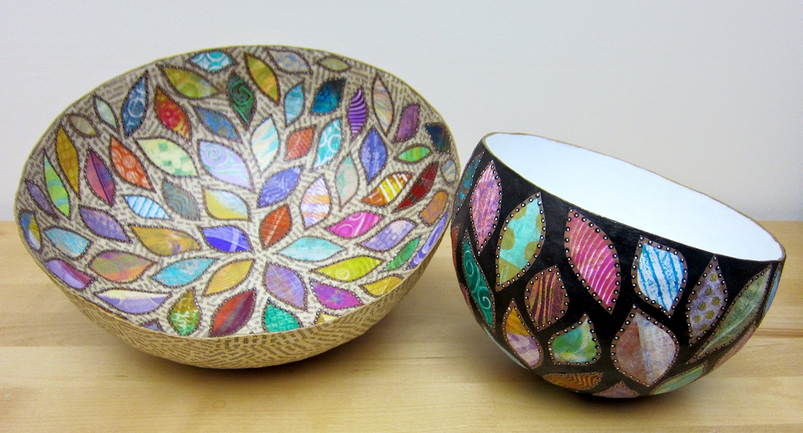 printing with gelli arts paper mache bowls with gelli prints