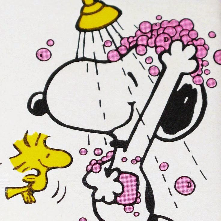 snoopy having a shower artwork by Charles M.Schulz