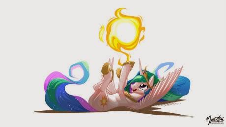 Dear Princess Celestia tumbles a sun.
