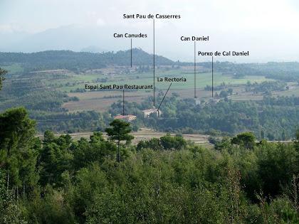 Sant Pau de Casserres i el seus voltants des de la casa de Montoliu