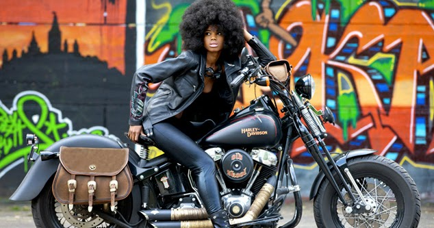 motorcycle girl  foxy lady return   cafe racers