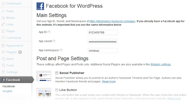 Facebook For Wordpress Plugin Screenshot