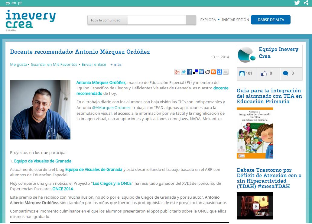 La imagen muestra la página con foto de Antonio Márquez