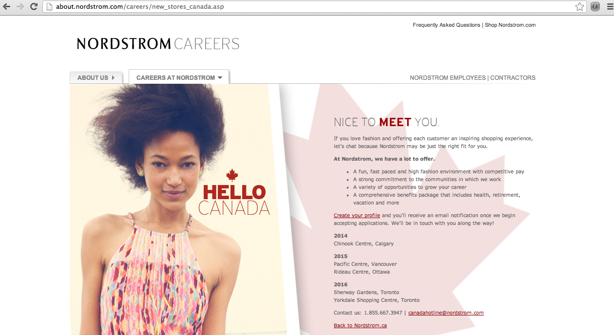 ... online shopping that will be included on Nordstrom's Canadian website