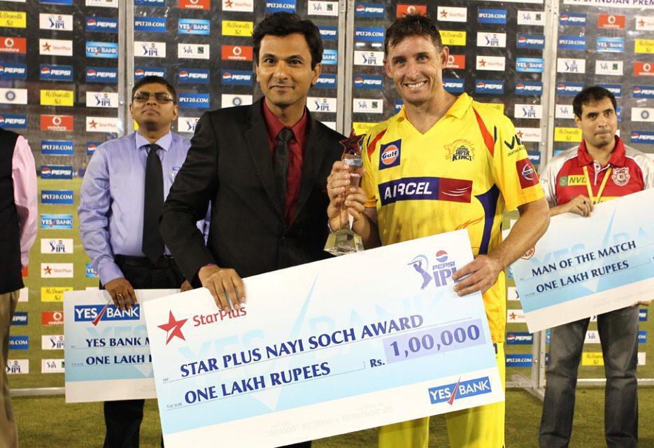 Michael-Hussey-Star-Plus-Award-KXIP-vs-CSK-IPL-2013