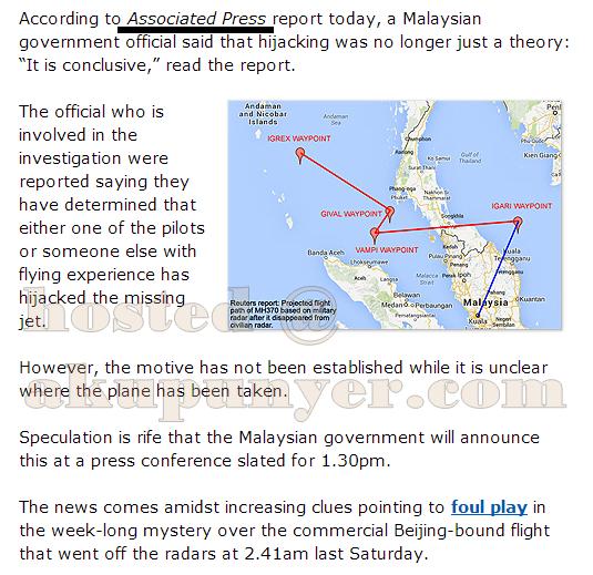 misteri kehilangan mh370, pesawat mh370 dirampas, disahkan dirampas mh370, pesawat mas mh370 sah dirampas, bukti pesawat mh370 dirampas