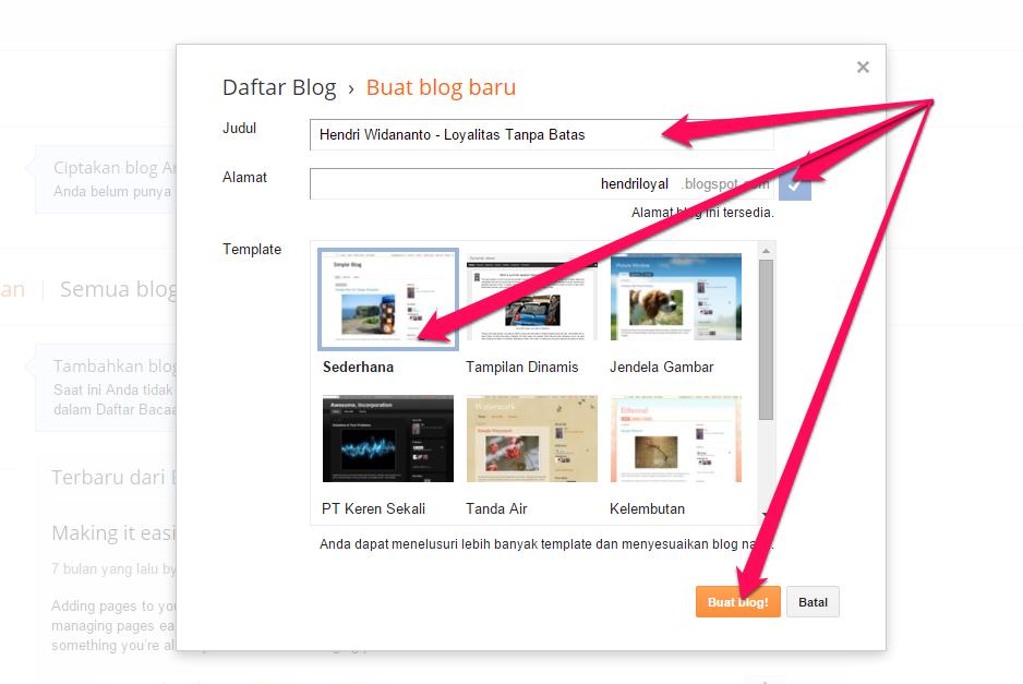 masukkan Judul dan alamat blog