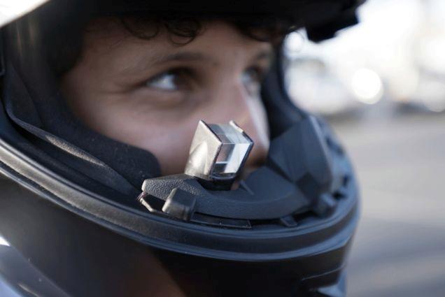 Motorbike helmet google glass riding