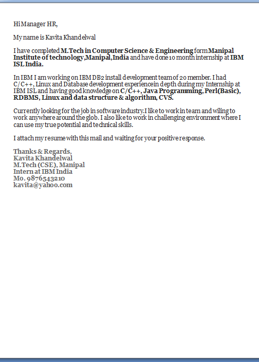 resume cover letters entry level