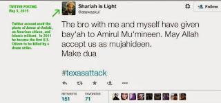 Twitter posting from Terrorist in Garland, Texas