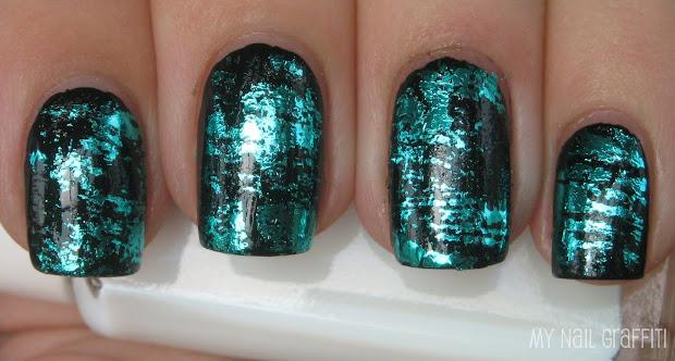 nail graffiti teal foil