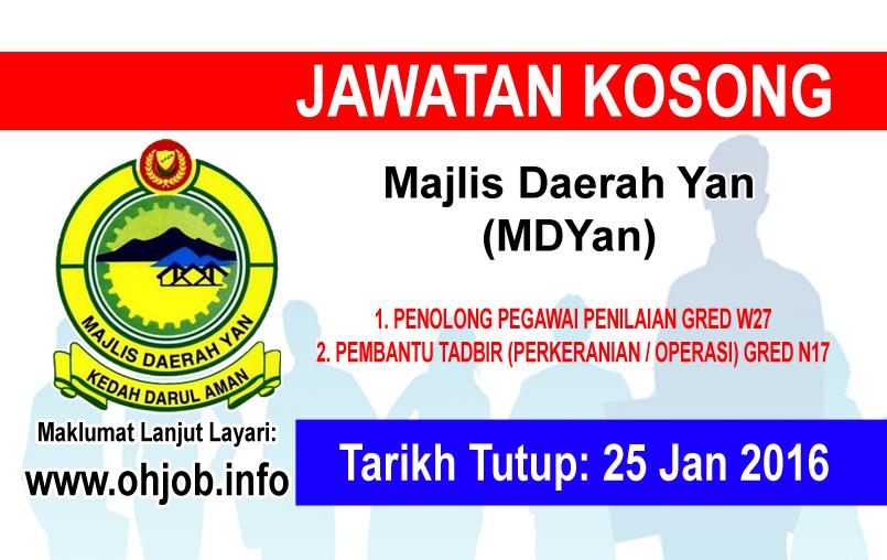 Jawatan Kerja Kosong Majlis Daerah Yan (MDYan) logo www.ohjob.info januari 2016