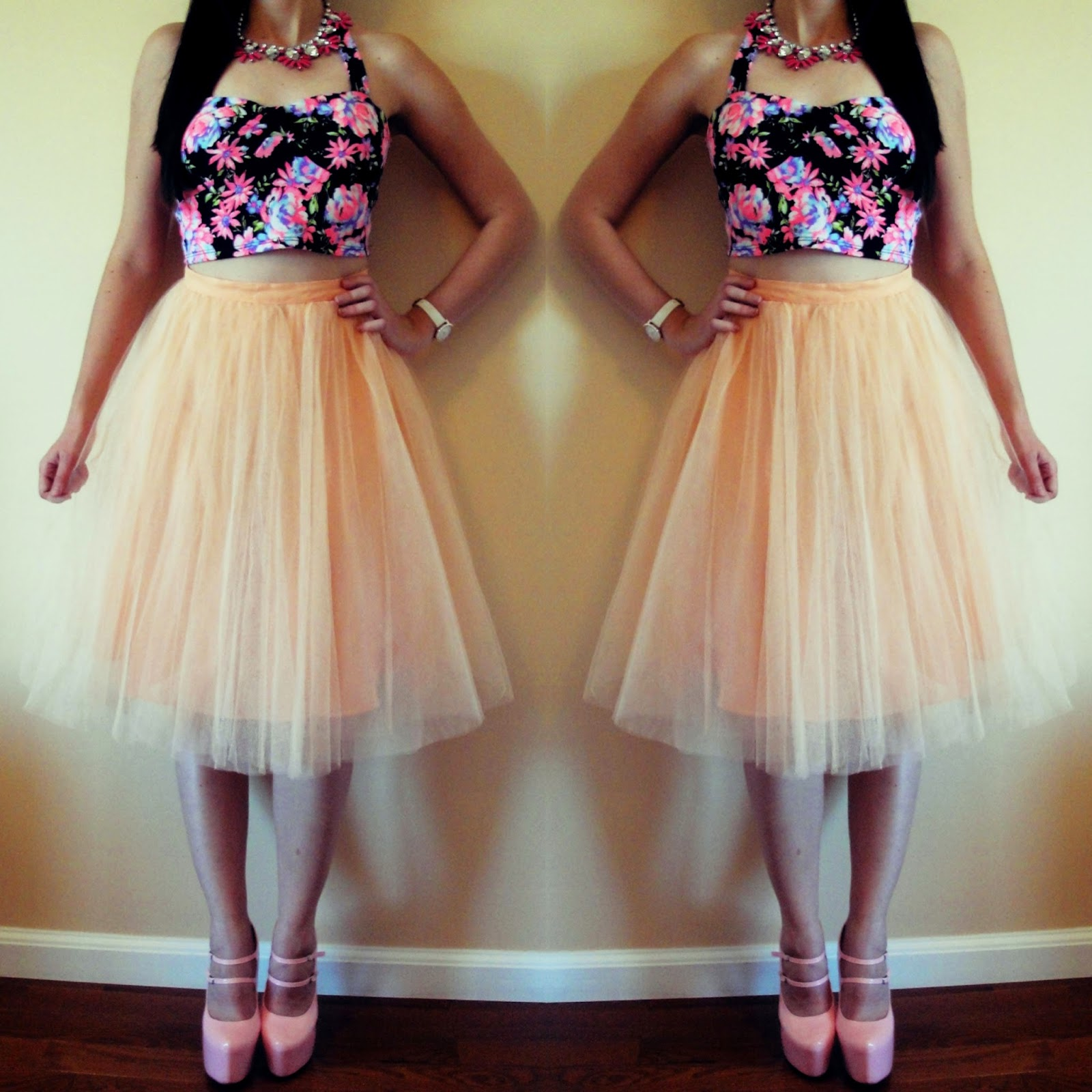 charlotte russe crop top, floral crop top, tulle skirt, tulle,