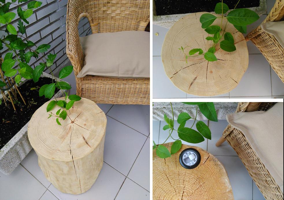 Decoraci n f cil decorando con mi mesita tronco de madera for Muebles con troncos