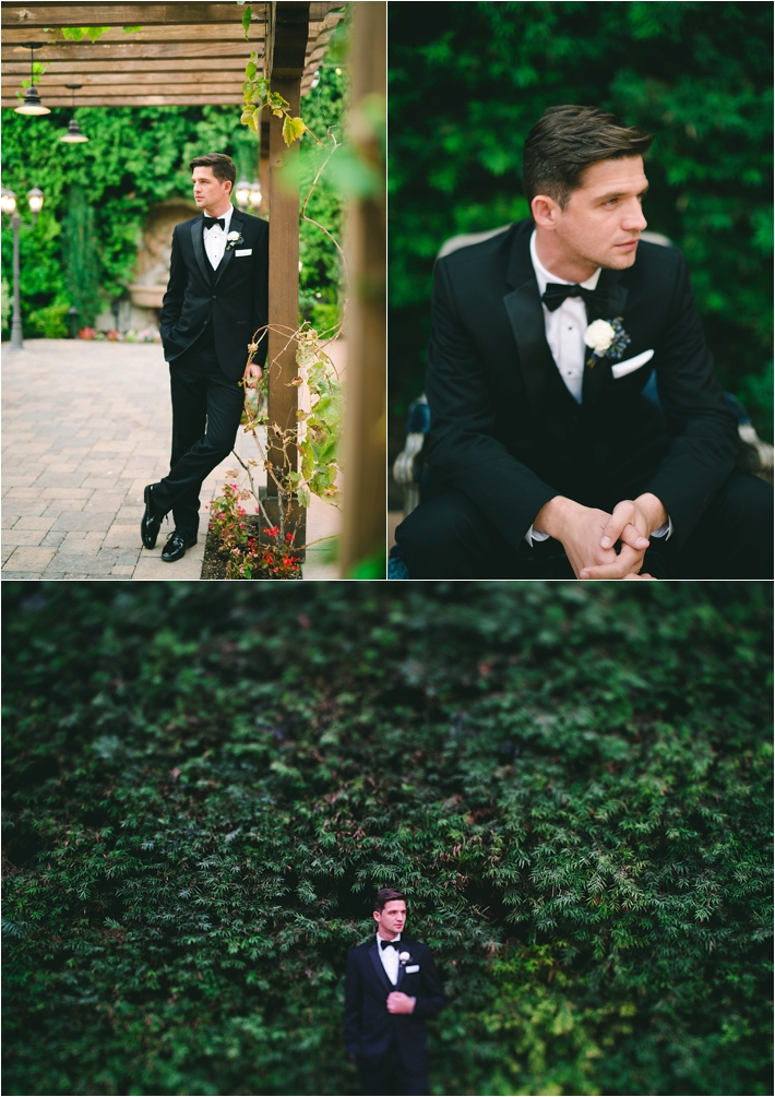 Elegant groom in black tux with bow-tie from Friar Tux // Photo by Closer to Love Photography via @thesocalbride