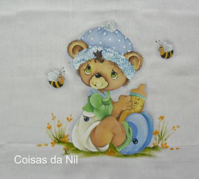 """""""fralda de menino com pintura de ursinho e abelhas"""""""