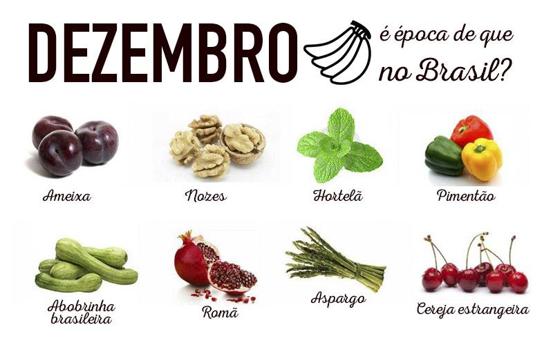 Dezembro é época de que verduras e frutas no Brasil?
