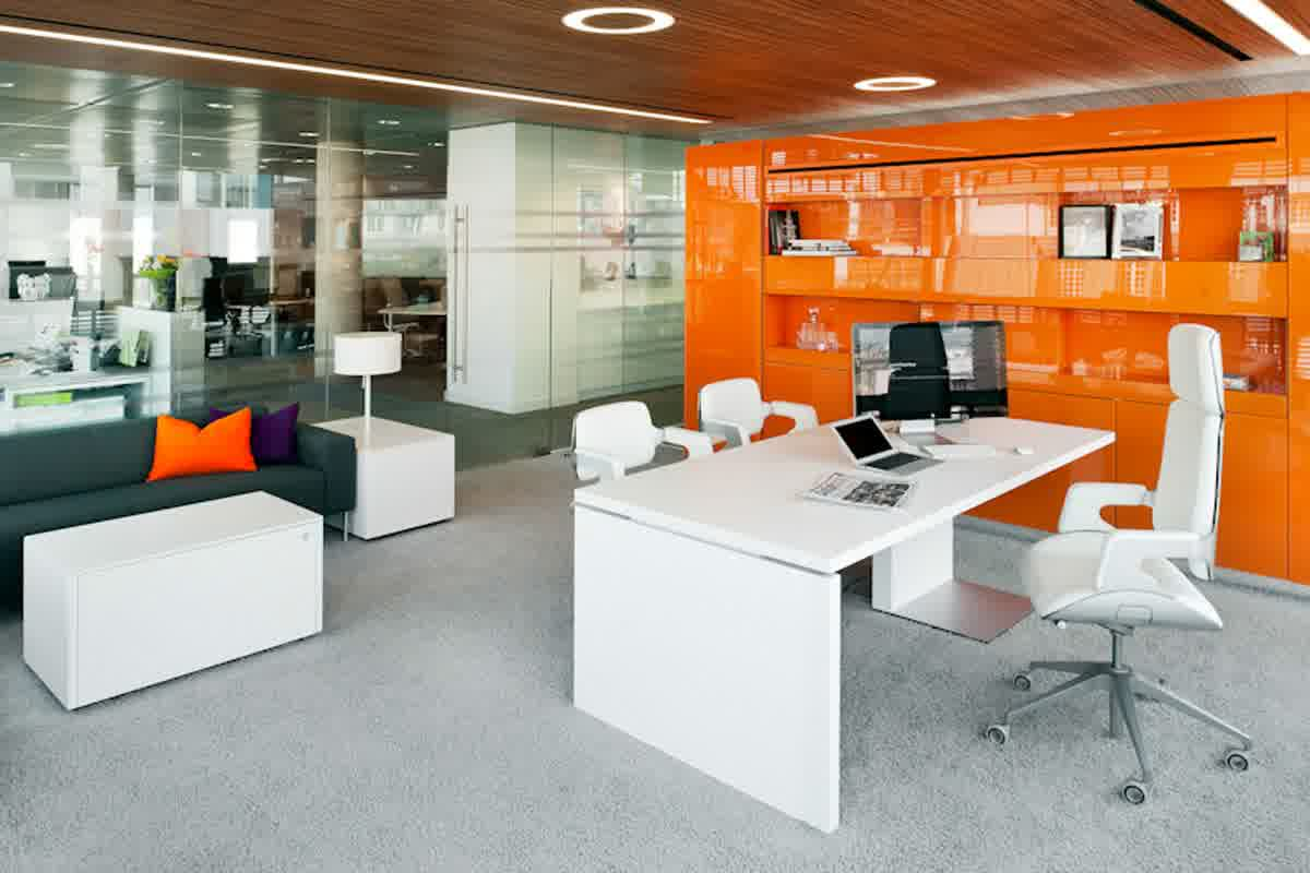 Amazing White Stained High End Office Furniture Completed With White Swivel  Office Chair Also Two White