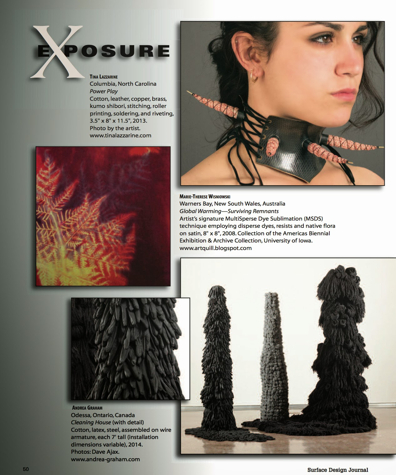 Surface Design Association  Journal.<br>Spring Edition (2014).<br>Exposure (Section) - Page 50.