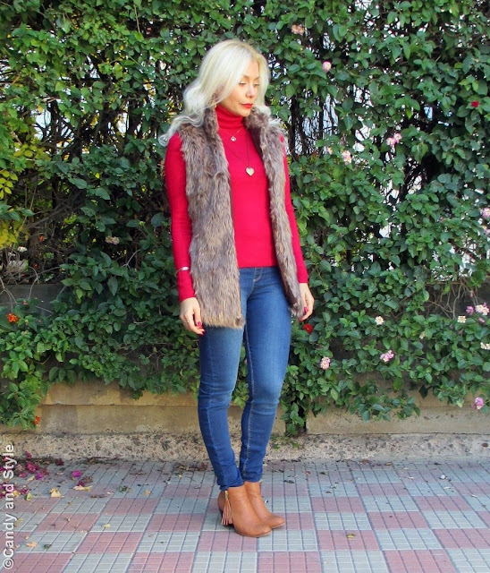 Faux Fur Vest, Red Turtleneck and Jeggings