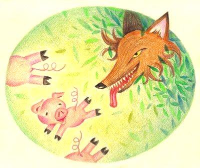 Ilustración de los tres cerditos o 3 chanchitos corriendo del lobo