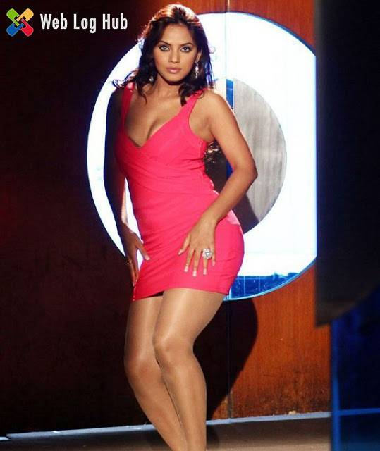 Indian Actress Neetu Chandra Hot Still in Tight Pink Dress from Tamil Movie Theeradha Vilaiyattu Pillai - Web Log Hub
