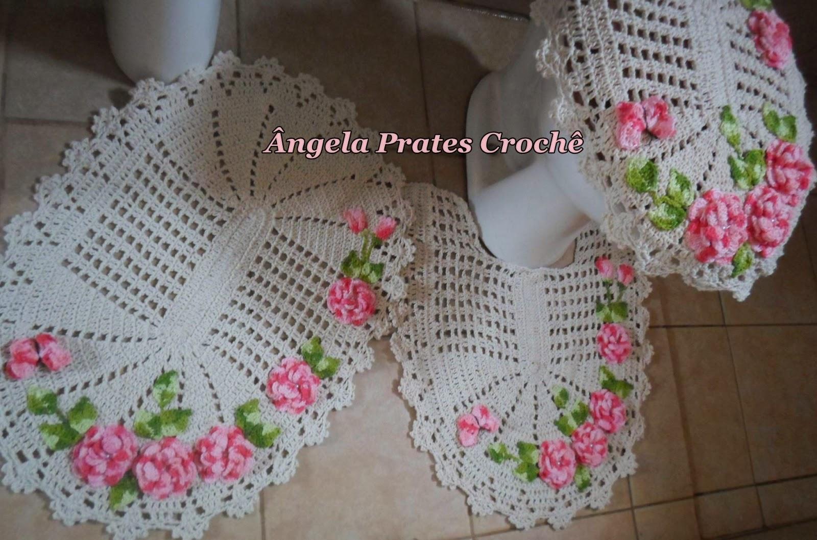 Ângela Prates Croche Jogo de banheiro flor viciadas em crochê rosa -> Jogo De Banheiro Simples Em Croche Passo A Passo